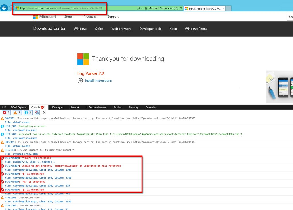 Microsoft website non-functional apparently due to missing jQuery