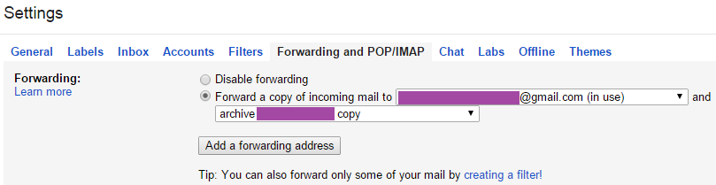 Forward your email to the Gmail account