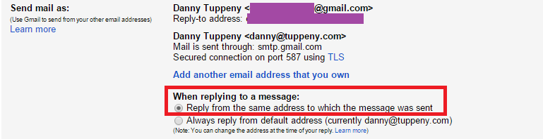 Ensure replies are sent from the email address that received them