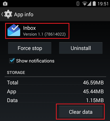Clear your Inbox by Gmail app data
