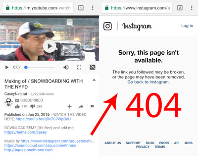 404 from Casey Neistat's YouTube video