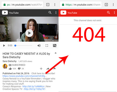 404 from Sara's YouTube video